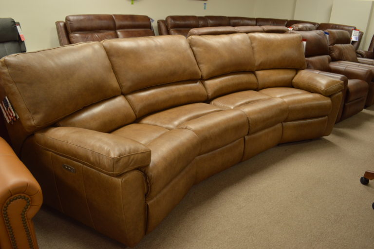 Curved Recliner Sofa Off 61, Curved Leather Reclining Sectional Sofa